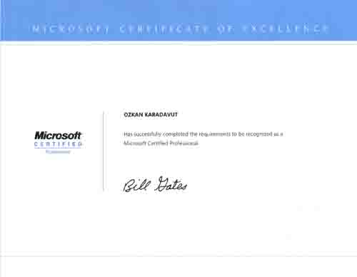 My Certificates – Microsoft Certificate of Excellence